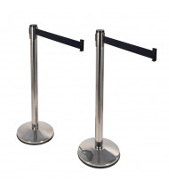 Retracta-Belt Prime 10 ft. Retractable Belt Barrier Stanchion in Polished Stainless, 2 Pack (Shown with Black Belt)