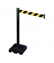 Retracta-Belt Outdoor Safety Belt Barrier Stanchion (10 ft. Model Shown in Black Aluminum with Black / Yellow Belt)