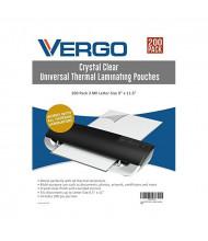 "Vergo Industrial 3 Mil Letter Size 9"" x 11.5"" Laminating Pouches (200 pcs)"