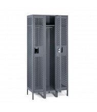Tennsco Ventilated Assembled Single Tier 3-Wide Metal Lockers with Legs (Shown in Medium Grey)