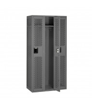 Tennsco Ventilated Assembled Single Tier 3-Wide Metal Lockers without Legs (Shown in Medium Grey)