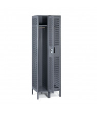 "Tennsco Ventilated Single Tier 2 Wide Locker with Legs 18"" W x 18"" D x 78"" H (Shown in Medium Grey)"