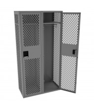 "Tennsco Ventilated Single Tier 2 Wide Locker without Legs 18"" W x 18"" D x 78"" H (Shown in Medium Grey)"