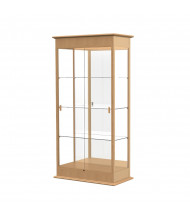 "Waddell Varsity 694K Series Display Case Oak Finish with Sliding Glass 36""L x 77""H x 18""D (mirror back/natural oak)"