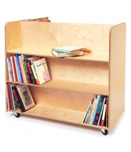"Whitney Brothers 40"" W Double-Sided 6-Shelf Book Cart"