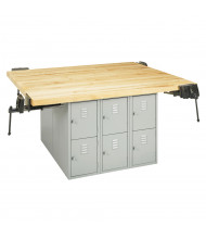 Diversified Woodcrafts Maple Top Storage Locker Workbench, 4 Vises