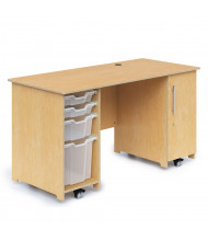 """Whitney Brothers 58"""" W Double Pedestal Mobile Teacher's Desk with Trays"""