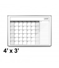 Luxor 4 x 3 Monthly Magnetic Painted Steel Calendar Whiteboard