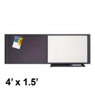 Quartet Prestige 4' x 1.5' Total Erase / Fabric Graphite Frame Cubicle Whiteboard