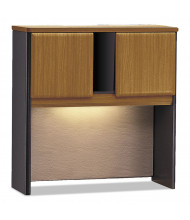 "Bush Series A 36"" W 2-Door Laminate Hutch, Natural Cherry (Shown with Task Light, Not Included)"