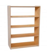 Wood Designs Childrens Classroom Storage 4-Shelf Bookshelf, Acrylic Back