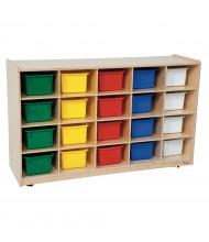 "Wood Designs 20-Cubby Classroom Storage Unit with Assorted Trays, Birch, 30"" H x 48"" W x 15"" D"