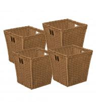 Wood Designs Medium Plastic Wicker Basket, 4 Pack