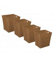 Wood Designs Large Plastic Wicker Basket, 4 Pack