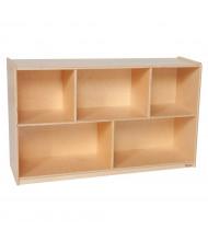 "Wood Designs Classroom 5-Section Single Storage Mobile Shelving Unit, Birch, 30"" H x 48"" W x 15"" D"