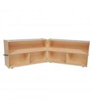 "Wood Designs Classroom 6-Space Mobile Storage Unit, Folding, Birch, 30"" H x 96"" W"