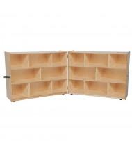 "Wood Designs Mobile 16-Space Classroom Storage Unit, Folding, Birch, 38"" H x 96"" W"