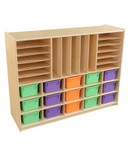 Wood Designs Childrens Classroom Multi-Storage Unit with Assorted Pastel Trays