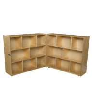 "Wood Designs Mobile 16-Space Classroom Storage Unit, Folding, Birch, 42"" H x 96"" W"