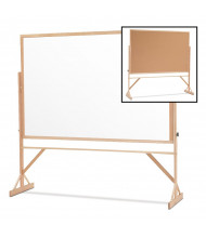 Quartet Duramax 6 x 4 Porcelain/Cork Oak Hardwood Frame Reversible Mobile Whiteboard