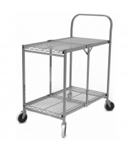 "Luxor 2-Shelf 20"" x 34"" Folding Wire Steel Utility Cart 200 lb Load"