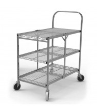 "Luxor 3-Shelf 20"" x 34"" Folding Wire Steel Utility Cart 300 lb Load"