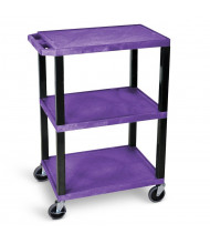 "Luxor Tuffy 3-Shelf 18"" x 24"" Plastic Utility Cart, (Shown in Purple)"