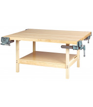 Diversified Woodcrafts Maple Top Wood Workbench, 4 Vises