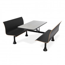 """OFM 1006W 24"""" x 48"""" Stainless Steel Cafeteria Table Bench, Wall Support (black)"""