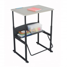 """Safco AlphaBetter 1201BE 28"""" x 20"""" Height Adjustable Stand-Up Student Desk (example of use)"""