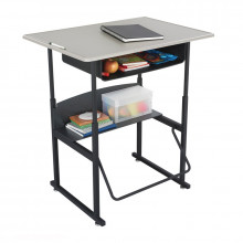 """Safco AlphaBetter 1207BE 36"""" x 24"""" Height Adjustable Stand-Up Book Box Student Desk (example of use)"""