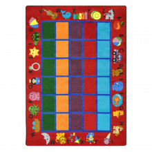 Joy Carpets Alphabet Phonics Rectangle Classroom Rug, Red