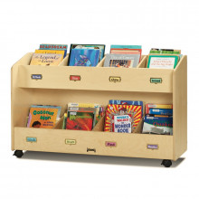 Jonti-Craft 8-Section Mobile Book Display Stand Organizer (example of use)