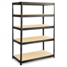 """Safco 6244BL 24"""" D x 48"""" W x 72"""" H 5-Shelf Steel/Particleboard Boltless Shelving Unit"""
