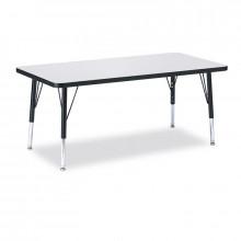 "Jonti-Craft Berries 36"" x 24"" Elementary Rectangle Classroom Activity Table (Shown in Grey / Black)"