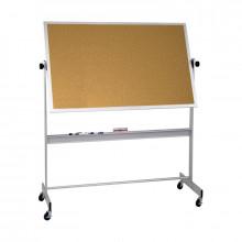 Best-Rite 668AG-CC Natural Cork 6 x 4 Aluminum Trim Reversible Mobile Bulletin Board