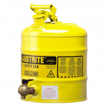 Justrite 7150240 Type I 5 Gallon Shelf Dispensing Safety Can, Yellow