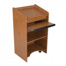 Balt Sliding Keyboard Drawer Mobile Floor Lectern (Shown in Oak)