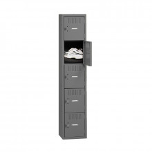 Tennsco Assembled 5-Tiered High Steel Box Lockers without Legs - Shown in Medium Grey