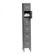 Tennsco Assembled 6-Tiered High Steel Box Lockers with Legs - Shown in Medium Grey