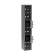 Tennsco C-Thru Assembled 6-Tiered Steel Box Lockers without Legs - Shown in Medium Grey