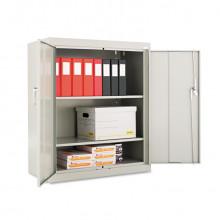 "Alera CM4218LG 36"" W x 18"" D x 42"" H Storage Cabinet in Light Grey, Assembled"