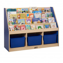 "ECR4Kids Colorful Essentials 43"" W 3-Section Storage Book Display (Shown in Blue)"