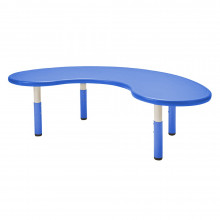 """ECR4Kids 65"""" W x 35"""" D Kidney-Shaped Resin Height Adjustable Classroom Activity Table (Shown in Blue)"""