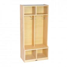 ECR4Kids Birch 2-Section Cubby Coat Locker with Step