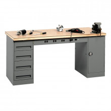Tennsco Electronic Modular Workbenches (Compressed Wood Top with 1-Drawer, 1-Cabinet)
