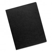 "Fellowes 7.5 Mil 8.75"" x 11.25"" Round Corner Linen Texture Black Binding Cover, 200/Pack"