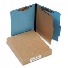Acco 4-Section Letter Presstex 20-Point Classification Folders, Light Blue, 10/Box
