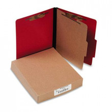 Acco 4-Section Letter Presstex 20-Point Classification Folders, Executive Red, 10/Box