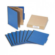 Acco 6-Section Letter Presstex 20-Point Classification Folders, Dark Blue, 10/Box
